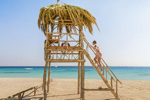 Beach, Hut, Sand, Travel, Blue, Sky, House, Building