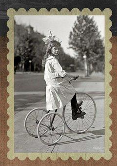 Vintage, Girl, Tricycle, Transportation, Portrait