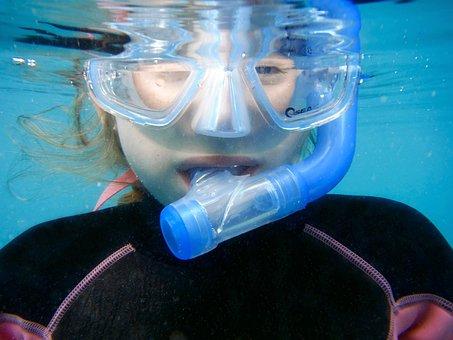Snorkelling, Swimming, Summer, Mask, Underwater, Girl