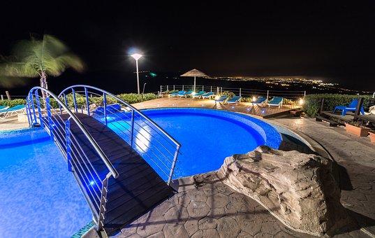Swimming, Bridge, Night, Villa, Summer, Tourism