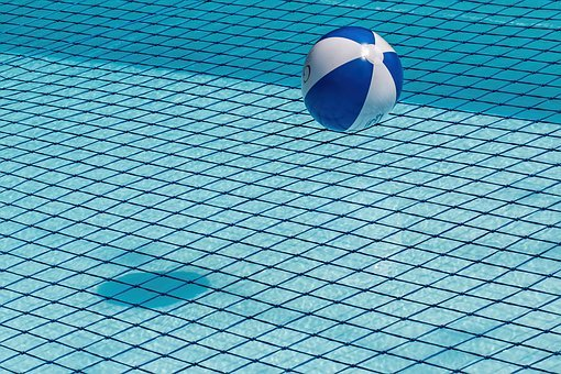 Swimming Pool, Safety Net, Beach Ball, Blue, Water