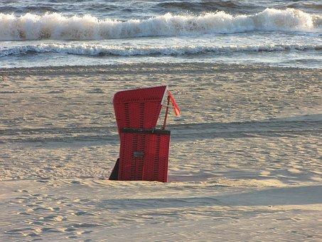 Beach Chair, Red, Baltic Sea, Wave, Lonely, Alone, Sea