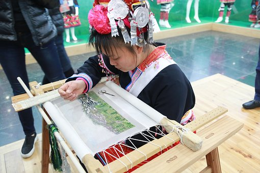 Yao Village, Character, Embroidery, Woman