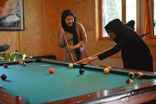 Youth Centre, Girl, Billiards, Afghanistan, Play, Joy