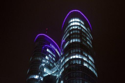 Towers, Night, Architecture, City, Urban, Cityscape