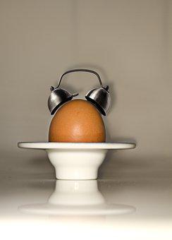 Egg, Alarm Clock, Arouse, Breakfast, Clock, Artwork