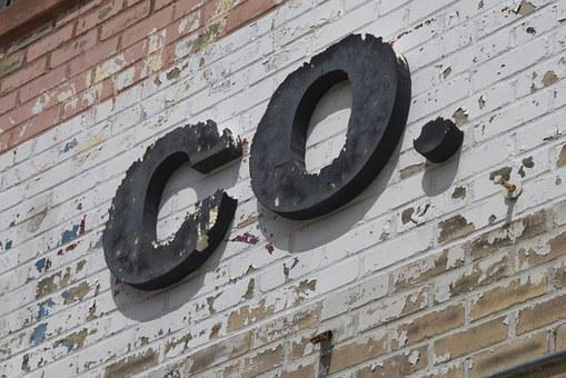 Company, Wall, Downtown, Business, Peeling, Brick, Sign