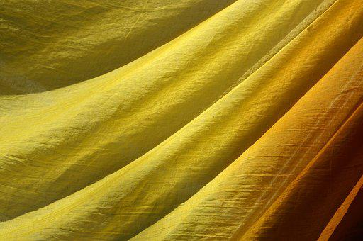 Yellow, Fabric, Structure, Bright, Slightly, Pattern