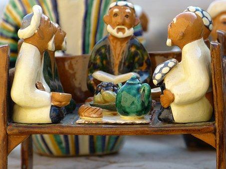 Clay Figure, Men, Group, Tea House, Sit, Meeting, Talk
