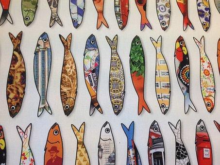 Fish, Sardines, Motive, Pattern, Textile, Funny