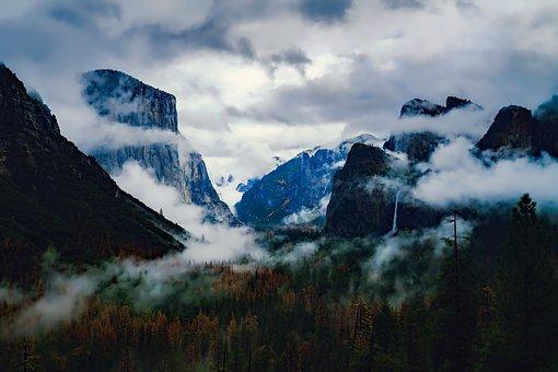 Yosemite, National Park, Valley, Sunrise, Fog, Sky