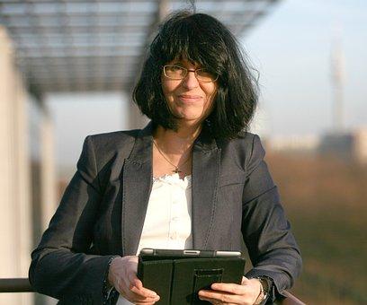 Business Woman, Portrait, Ipad, Company Founder