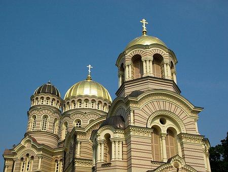 Latvia, Riga, Orthodox Church, Cupolas