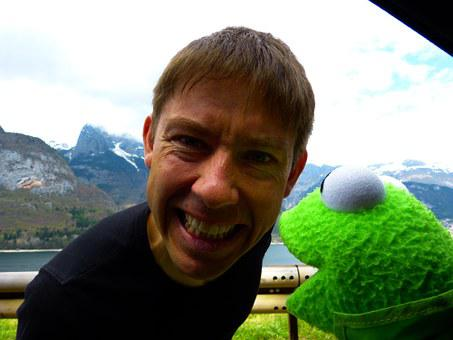 Making A Face, Man, Human, Person, Kermit, Frog, Doll