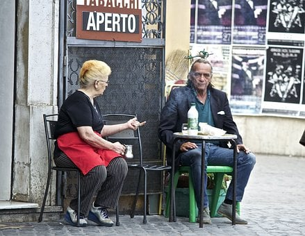Rome, Italy, Cafe, Outdoors, People, Talking, Street