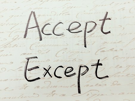 Accept, Except, Handwriting, Paronymous, Similar, Words