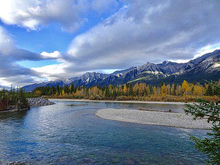Autumn, Mountains, Forest, River, Rockies, Canada