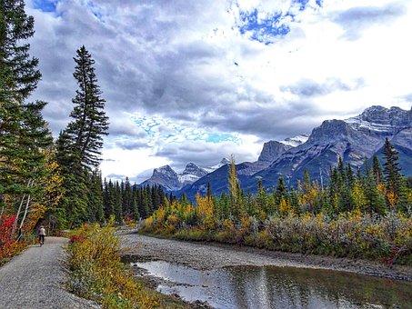 Autumn, Mountains, Forest, River, Biking, Rockies
