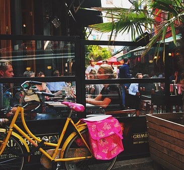 Cafe, Urban, City, Communication, Street, Bike, Talking