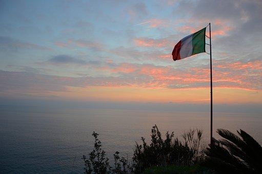 Italy, Sea, Ocean, Sunset, Color, Rock, Mountain, Water