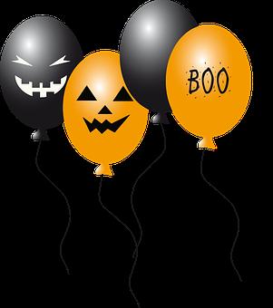 Balloon, Ballons, Halloween, Black, Gold, Creepy, Faces