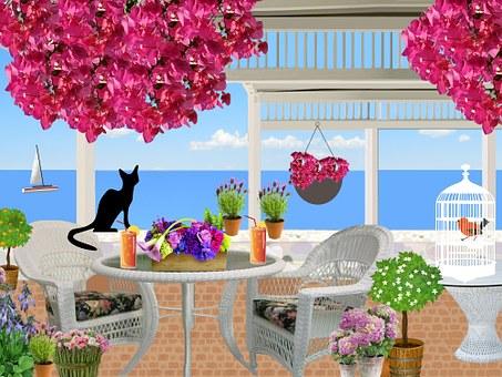 Veranda, Seaside, Summer, Flowers