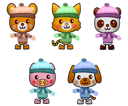 Kawaii Animals, Winter Animals, Kawaii, Hat, Mittens