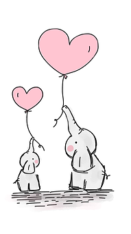 Elephants, Balloons, Love, Heart, Animals, Cartoon