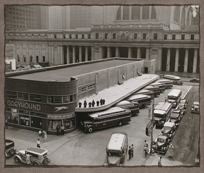 Bus, Station, Retro, Fifties, Art, Collage, Buses