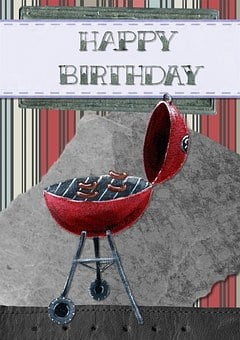 Happy Birthday, Greeting, Card, Barbeque