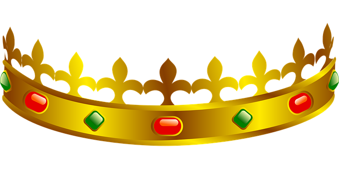 Crown, Tiara, Golden, Yellow, Designs, Red, Green