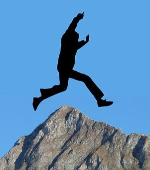 Silhouette, Man, Motivation, Jump, Get Over, Mountain