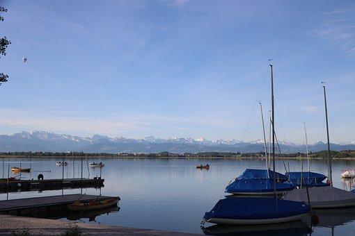 Lake, Ship, Balloon, Pfäffikon, Water