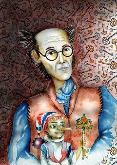 Pinocchio, Golden Key, Story, Papa Carlo, Wooden Doll