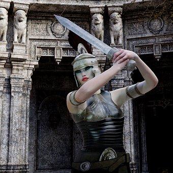Amazone, Fight, Armor, Sword, Helm, Heroine, Warrior