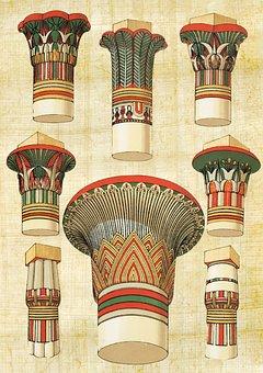Egyptian, Architecture, Column, Vintage