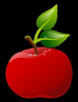 Illustration, Apple, Fruit, Leaves, Green, Red