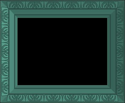 Green, Frame, Ornate, Antique, Design