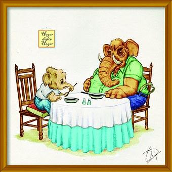 Elephant, Dinner, Animals, Cute