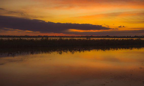 Lake, Sunset, Water, Landscape, Sky, Clouds, Nature