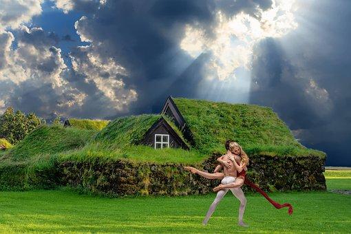 Dance, Grass, House, Man, Woman, Meadow, Roof, Nature