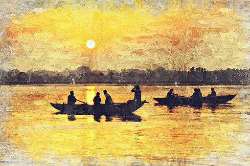 India, Varinasi, Ganges, Boats, River, People, Man