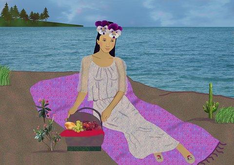 Woman, Beach Blanket, Picnic Basket, Lake, Sand, Trees