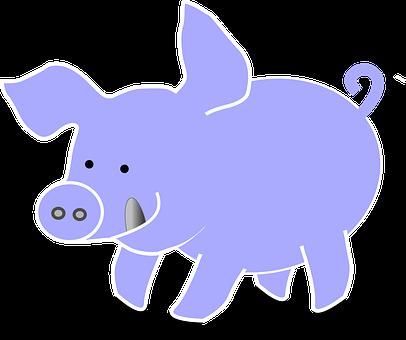 Pig, Animal, Farm, Cute, Tongue, Blue, Grey, Tail