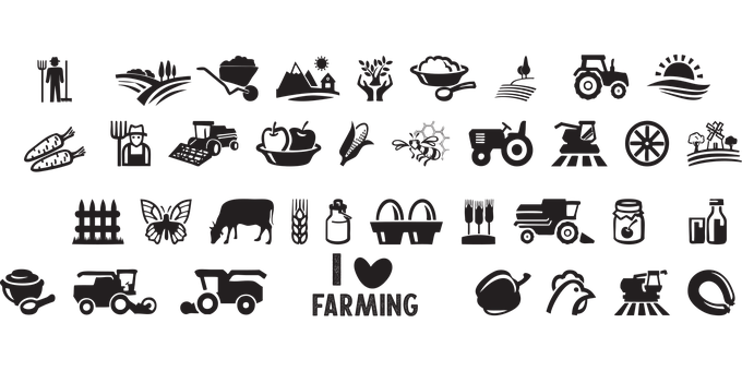 Farm Icons, Farm Animals, Plants, Tractor, On The Farm