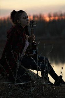 Girl, Ukulele, Sad, Life, Photoshoot, Guitar, Music
