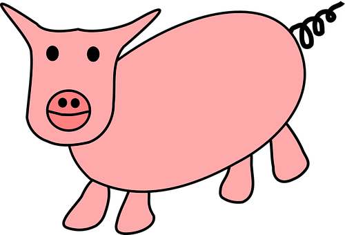 Pig, Animal, Pink, Cute, Ring-tailed