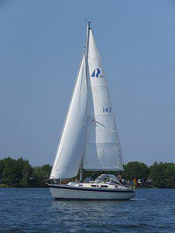 Mesh, River, Sailing Boat, Landscape, Water