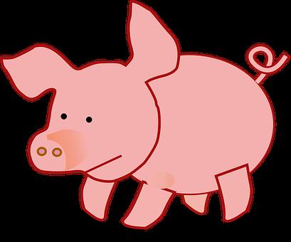 Pink, Pig, Fat, Slops, Ring-tailed, Sad
