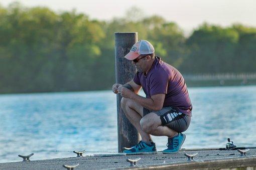 Man, Fishing Pole, Reel, Outdoor, Pier, Sport